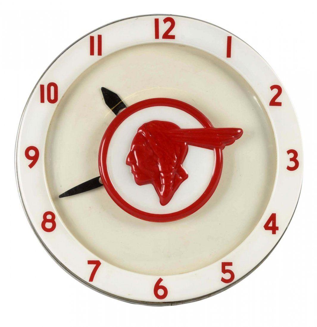Rare 1940s Pontiac Full Feather Indian Neon Clock.