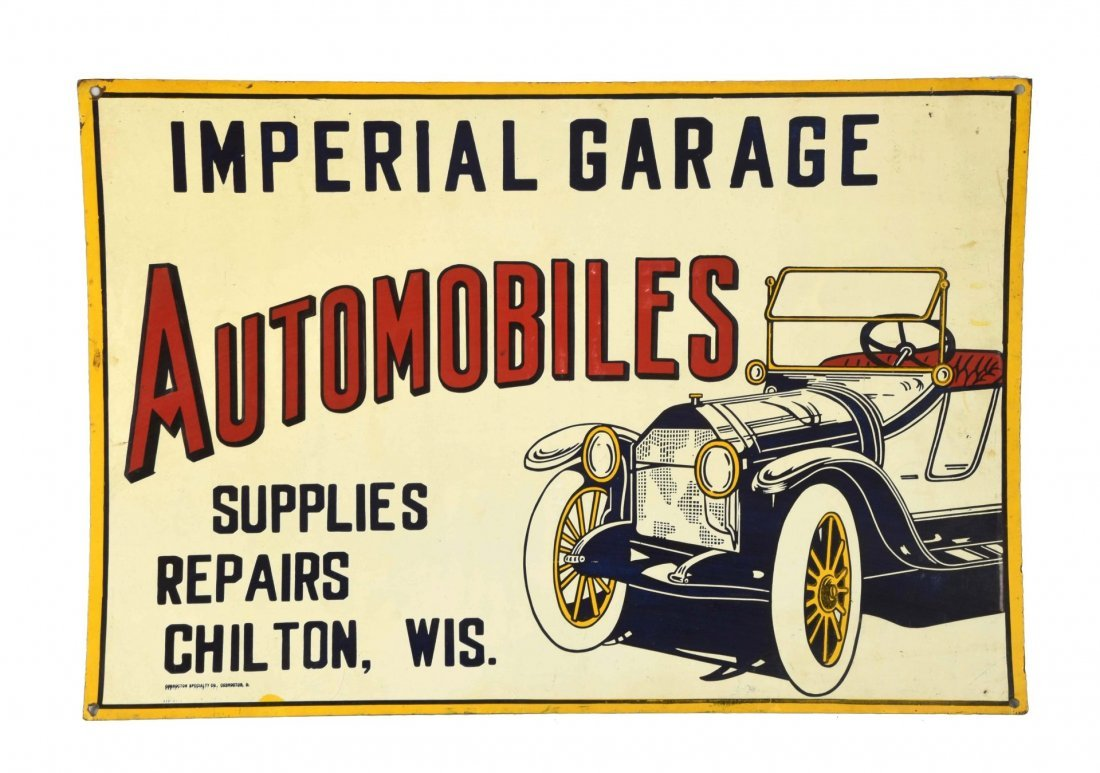 Imperial Garage Automobiles Tin Embossed Sign.