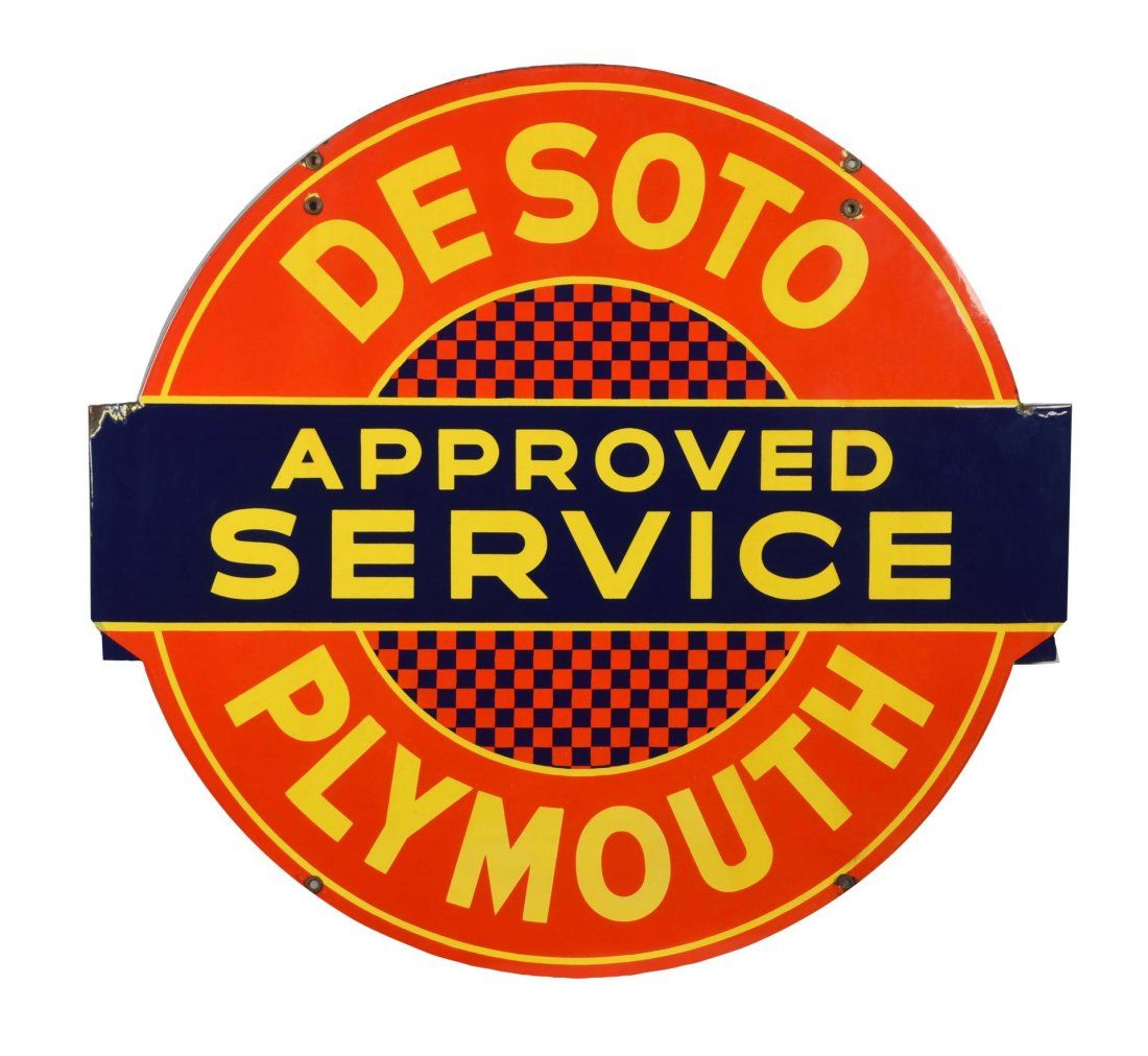 Desoto Plymouth Approved Service Diecut Sign.