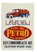 Petro Fuel Oil w/ Truck Porcelain Sign - Restored.