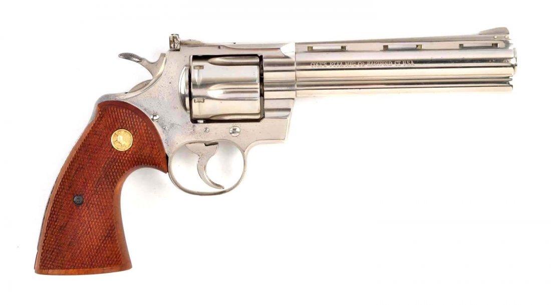 (C) 1st Factory Nickel Colt Python Revolver (1959)