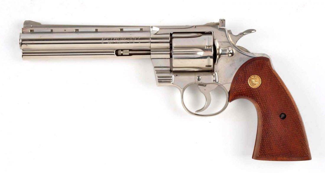 (C) 1st Factory Nickel Colt Python Revolver (1959) - 2