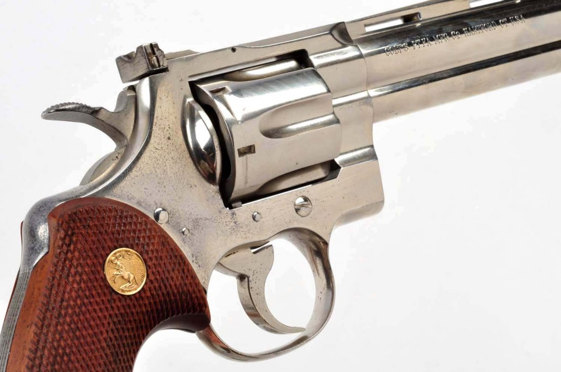 (C) 1st Factory Nickel Colt Python Revolver (1959) - 8