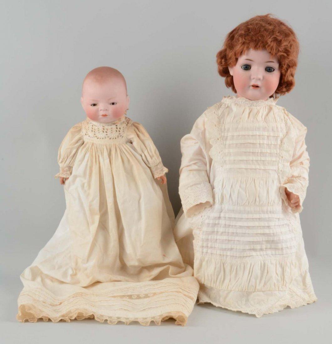 Lot Of 2: Antique German Bisque Head Babies.