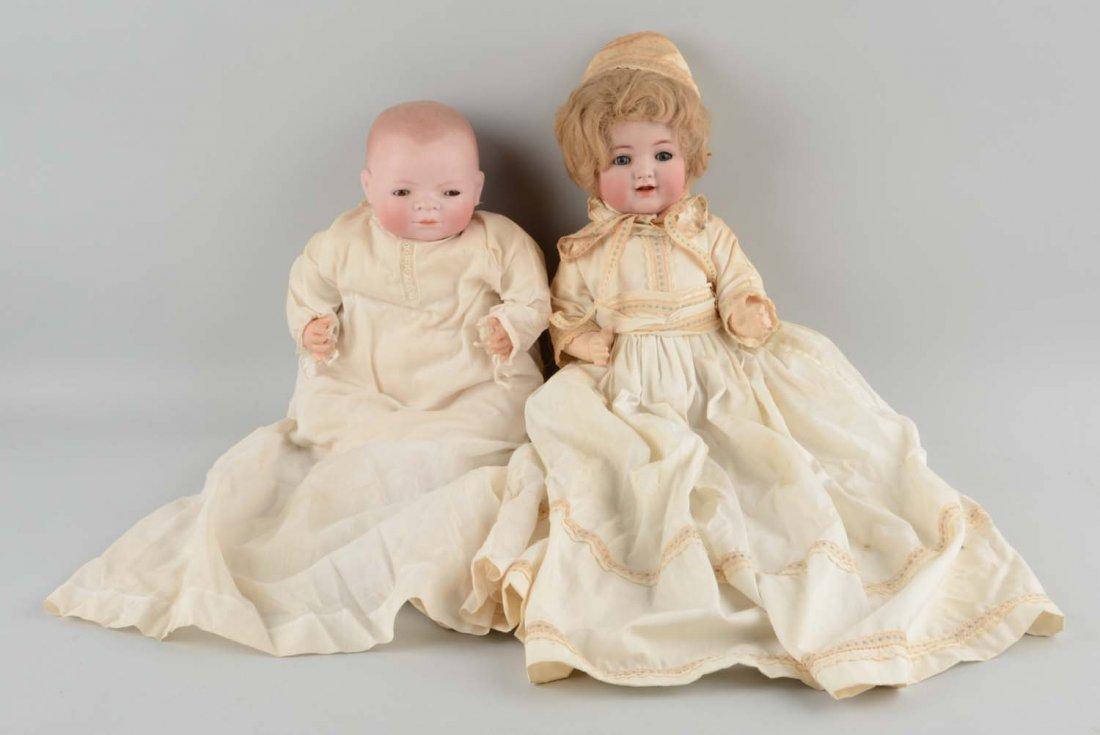 Lot Of 2: Antique German Bisque Head Baby Dolls.