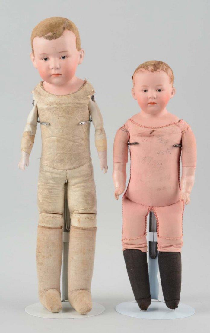 Lot Of 2:German Heubach Bisque Shoulder Head Doll.