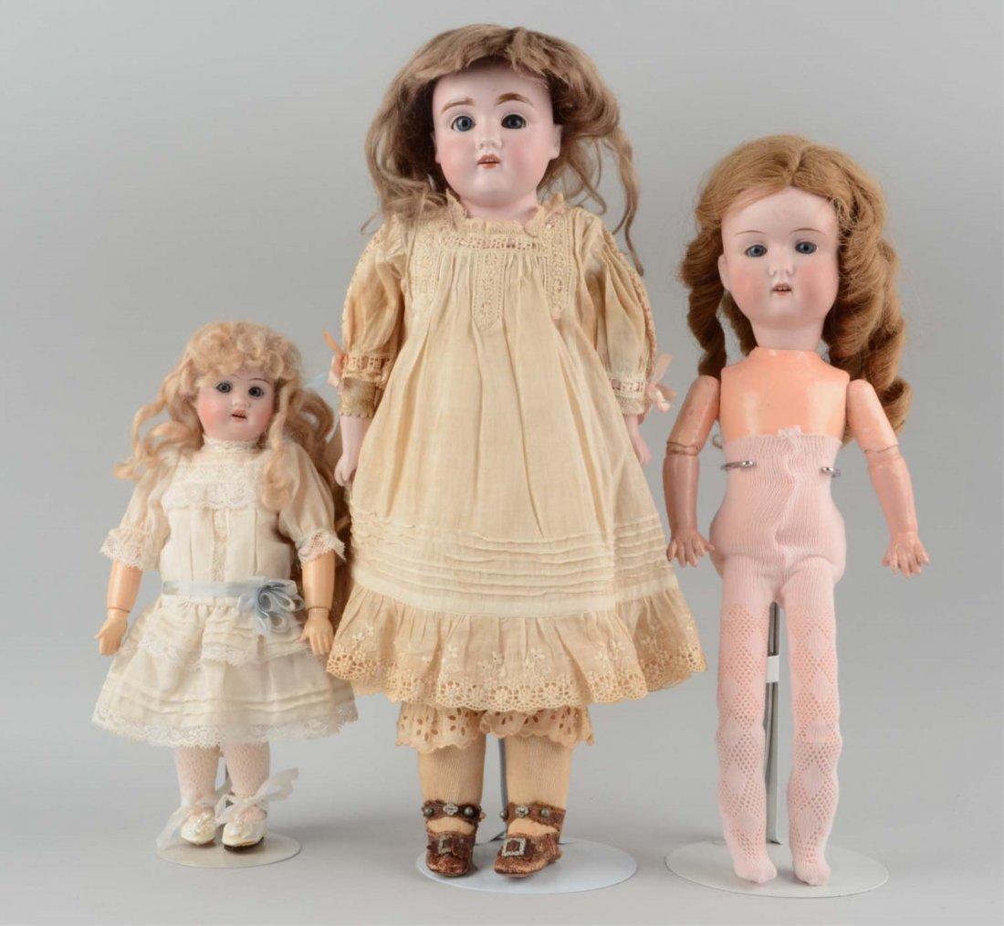 Lot Of 3: Antique German Bisque Head Dolls.