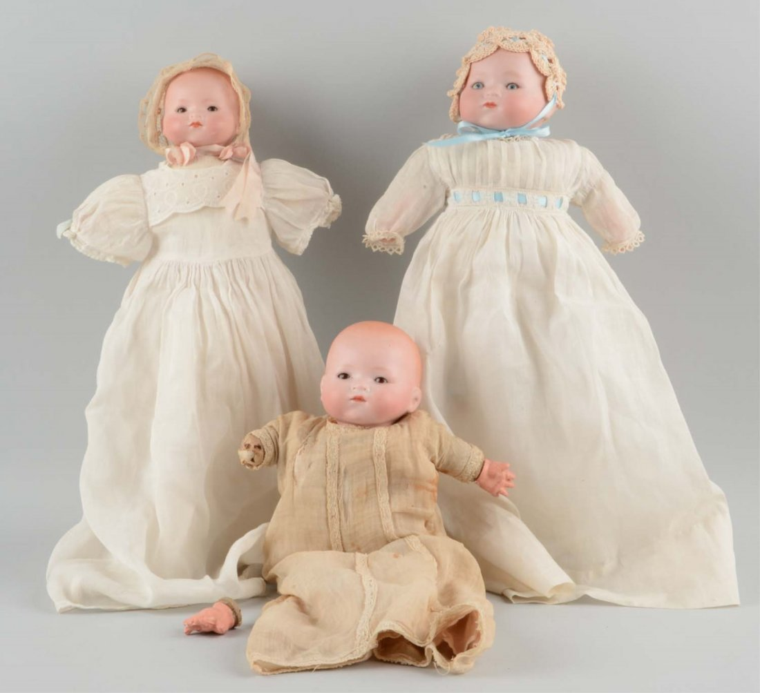 Lot Of 3: German Bisque Head A.M. Dream Babies.