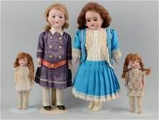Lot Of 4 Antique German Bisque Head Dolls