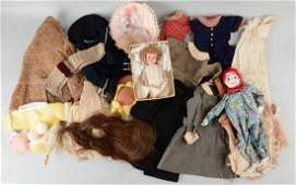 Lot Of Antique Doll Clothing & More.