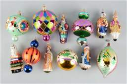 Lot Of 12: Radco Glass Christmas Ornaments.
