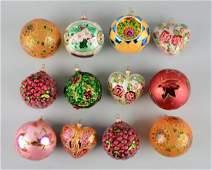 Lot Of 12: Radco Christmas Ball Ornaments.
