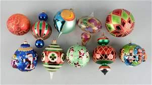 Lot Of 10: Radco Christmas Ball Ornaments.
