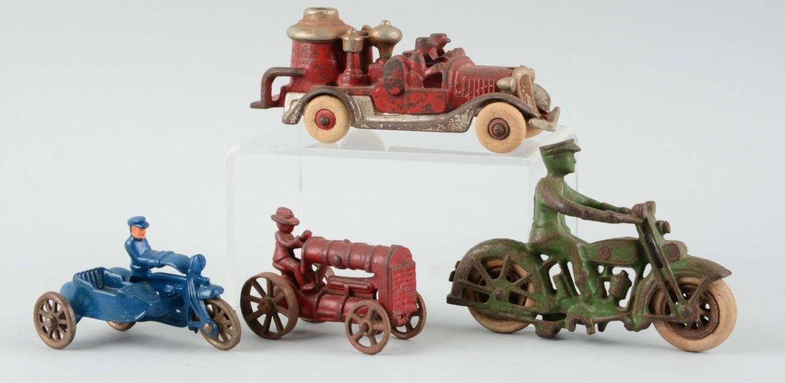 Lot Of 4: Cast Iron Vehicle Toys.