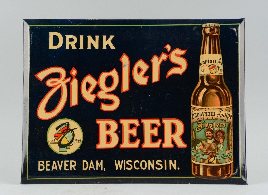 Ziegler's Beer Tin over Cardboard Sign.