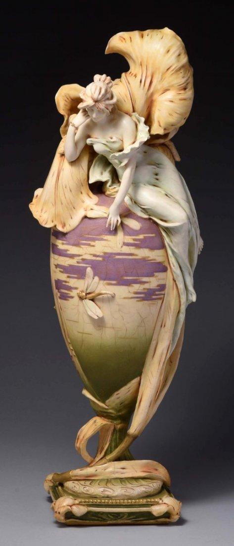 Amphora Ceramic Monumental Art Nouveau Iris Vase.
