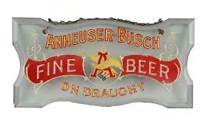 Anheuser-Busch Reverse Glass Hanging Sign.