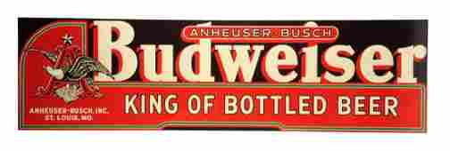 "Budweiser ""King Of Bottled Beer"" Large Tin Sign."
