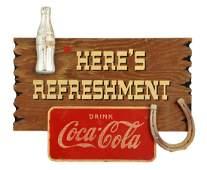 Coca-Cola Kay Displays Wooden Refreshment Sign.