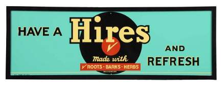 Hires Root Beer Embossed Tin Advertising Sign.