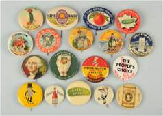 Lot of 18 Food Related Celluloid Pinbacks