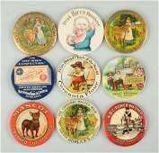 Lot of 9 Early Celluloid Pocket Mirrors