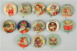 Lot of 13 Early Santa Celluloid Pinbacks