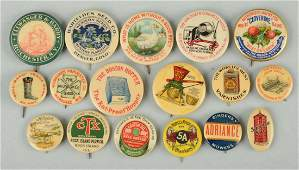 Lot of 17 Celluloid Advertising Pinbacks