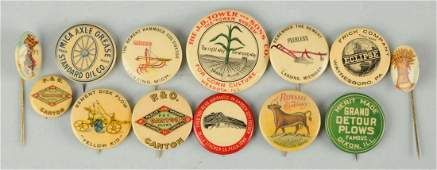 Lot of 13 Celluloid Agriculture Related Pinbacks