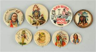 Lot of 8 Indian Related Celluloid Pinbacks