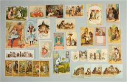 Lot of 20 Cat Related Advertising Trade Cards