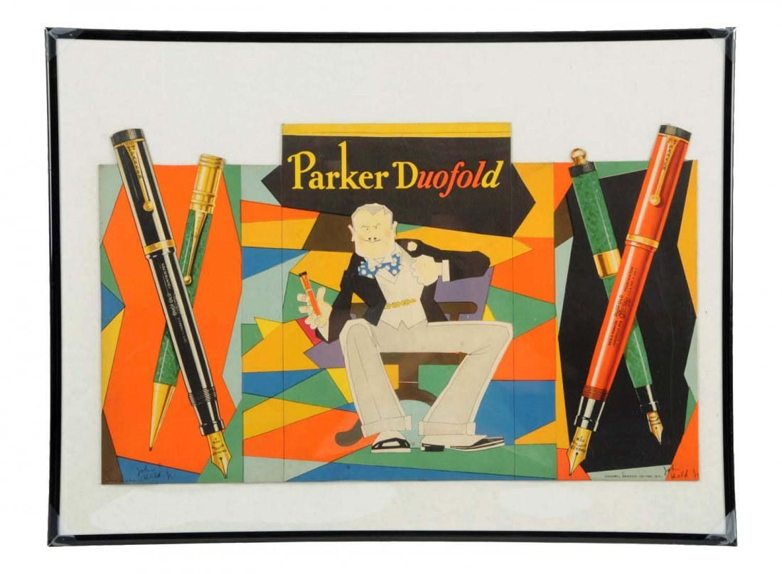 Parker Duofold Cardboard Trifold Advertising Sign.