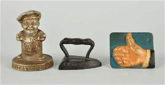 Lot Of 3 Cast Iron Advertising Paperweights