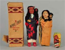 Lot Of 3 Vintage American Indian Dolls