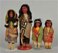 Lot Of 4 Vintage Skookum American Indian Dolls