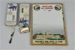 Lot of 3: Westland Oil Buffalo Gas Mirror.