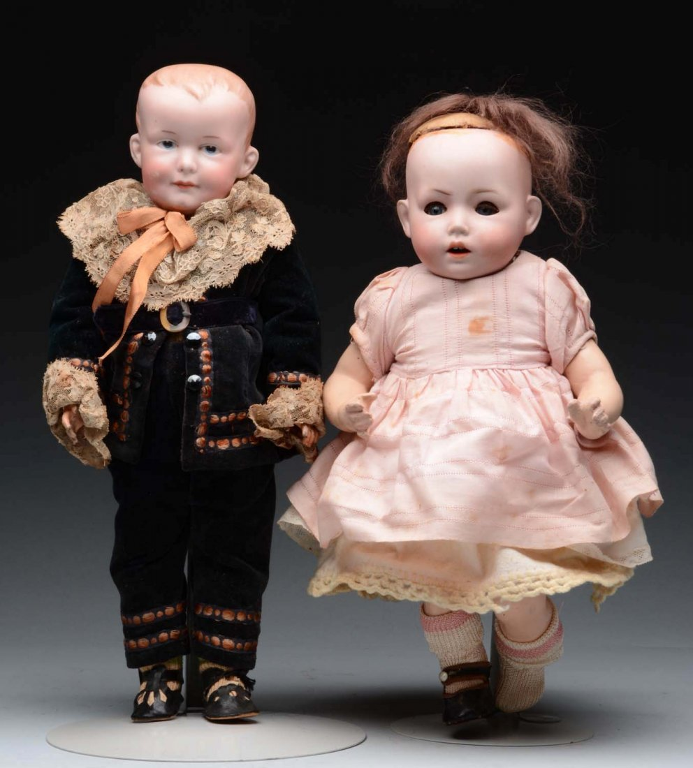 Lot Of 2: German Bisque Character Dolls.