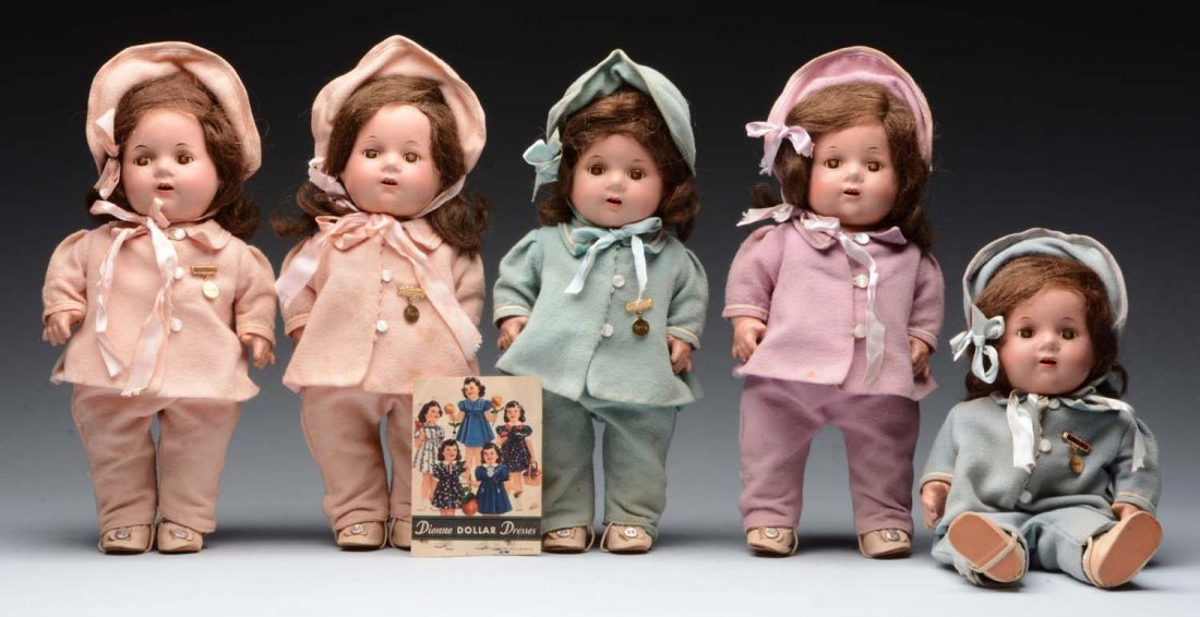 Lot Of 5: Dionne Quintuplet Dolls.