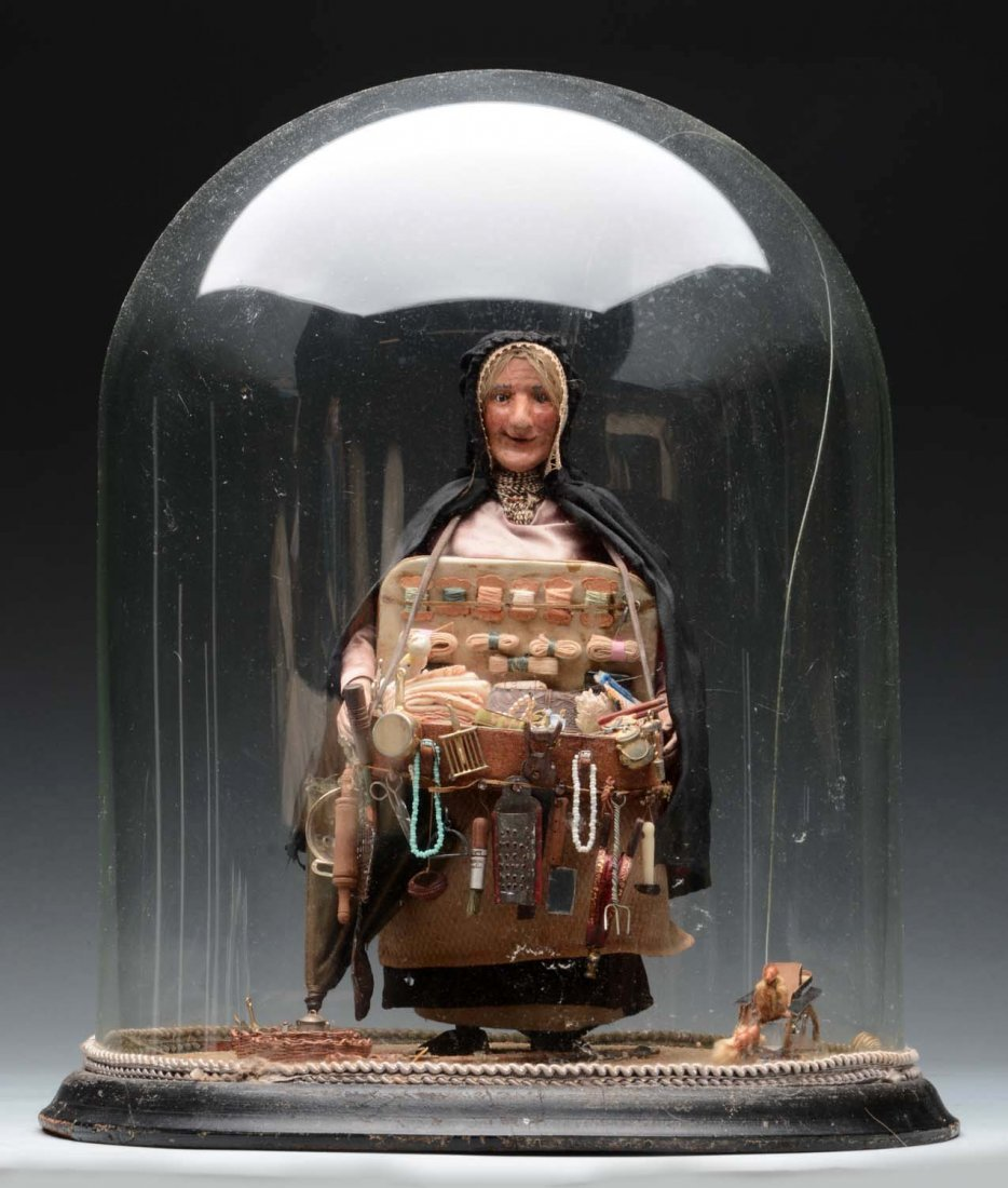 Woman Peddler under Glass Dome.