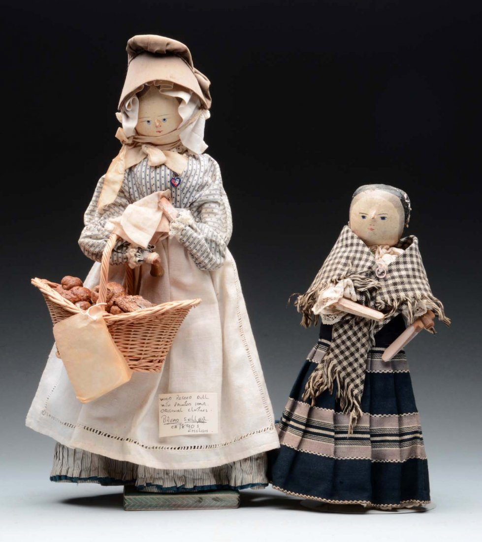Lot of 2: Peg Wood Dolls.