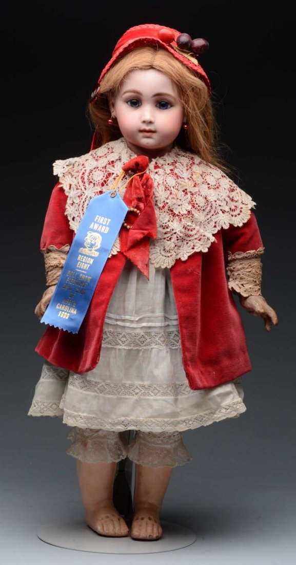 Bisque Head Doll In Red Velvet Cape and Hat. - 2