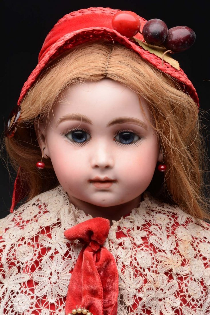 Bisque Head Doll In Red Velvet Cape and Hat. - 3
