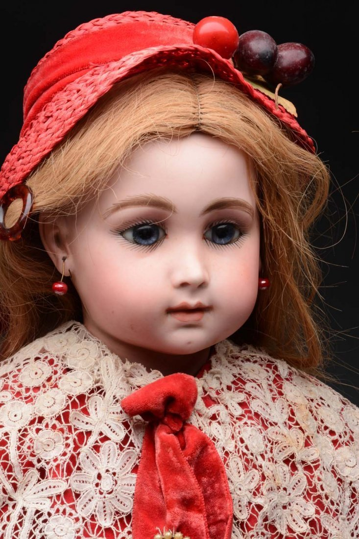 Bisque Head Doll In Red Velvet Cape and Hat. - 4