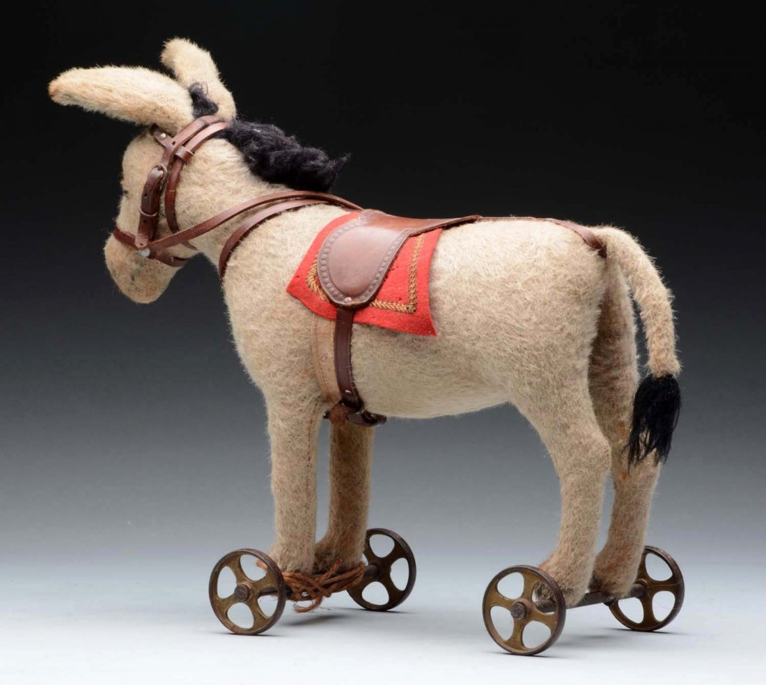 Early Steiff Donkey On Metal Wheels. - 2
