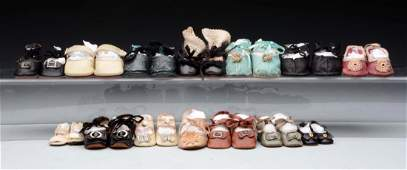 Lot of 14: Pairs of Doll Shoes.