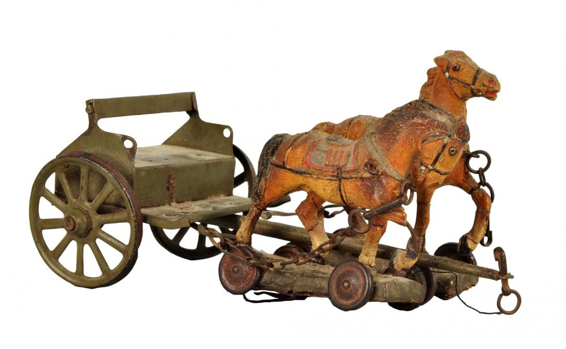 German PreWar Tin & Elastolin Horse Drawn Caisson.