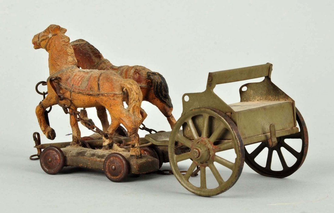 German PreWar Tin & Elastolin Horse Drawn Caisson. - 2