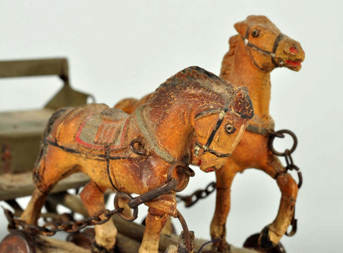 German PreWar Tin & Elastolin Horse Drawn Caisson. - 3