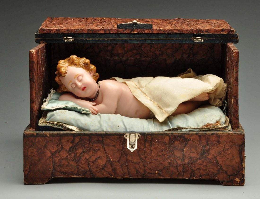 Antique Music Box with Wax Baby.