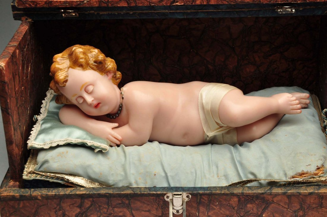 Antique Music Box with Wax Baby. - 3
